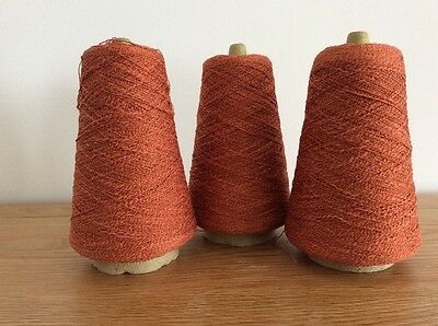3 Cones Of 2 Ply Machine Knitting Wool Orange