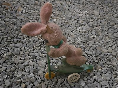 Antique Vintage Tin Plastic And Fabric Toy Rabbit With Bike