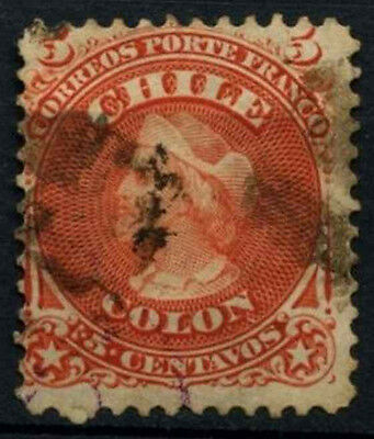 Chile 1867, 5c Red Christopher Columbus Used #D37535