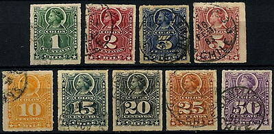 Chile 1878-99 Christopher Columbus x 9 Used Stamps #D37482
