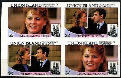 Union Islands 1986 $2 Royal Wedding MNH Imperf Block #D36401