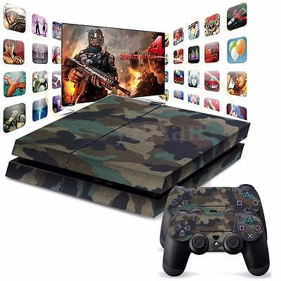 Adhesive Skin Sticker Cover For Playstation 4 PS4 Console & 2 Controller Decal
