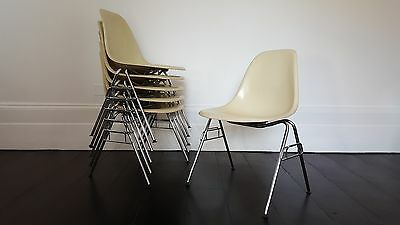 Charles and Ray Eames designed DSS stacking chair for Herman Miller
