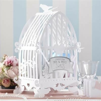Wishing Well Wedding Engagements Bird Cage Card Holder In White Great For
