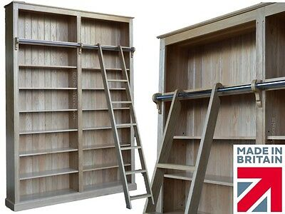 Large Solid Oak Bookcase, 8ft x 6ft Library Shelving with Ladder, Bookshelves