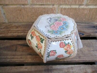 Vintage Nannas Handmade Card Crochet Craft Lidded BASKET Box Sewing Craft RETRO