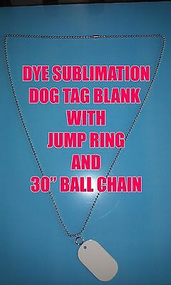 """Aluminum Dye Sublimation Dog Tag Blanks -50PC Lots with 30"""" Ball Chain & Ring"""