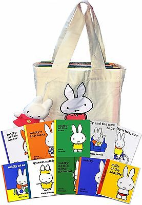 Miffy Collection with Plush Toy Dick Bruna 10 Books Set in a Bag Childrens Gift