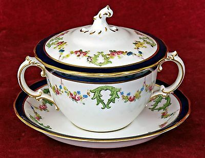 Antique Crown Derby Lidded Porcelain Chocolate Cup & Saucer / Pot De Creme, 1906