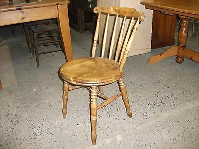 Vintage Spindle Stick Back Pine Kitchen Dining Chair Round Circular Seat Bobbin
