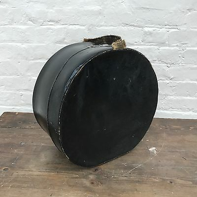 Antique Large Hat Box, Glossy Coated Canvas, Victorian, Worn. Black.
