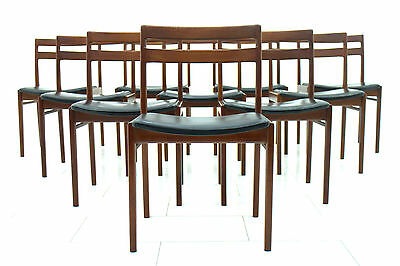 Set of ten Dining Room Chairs by Hansen Rosengren, Denmark Teak & Leather 1960`s