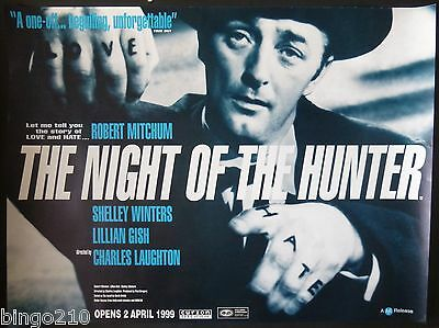 The Night Of The Hunter Quad Poster 1999 Bfi Re-Release Robert Mitchum