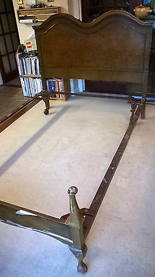 Antique Vono double bed frame, walnut, 4 Vono adjustable cast iron castors