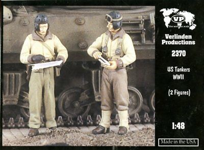 Verlinden Productions 1:48 WWII US Tankers - 2 Resin Figures Kit #2370