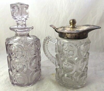 Set of 2 Vintage Glass Decanter and Wine Carafe, Pitcher
