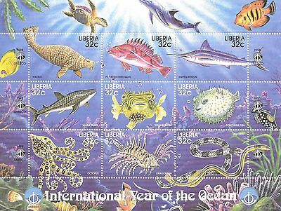 Liberia - International Year of the Ocean , 1998 - Sc 1358 Sheetlet of 9 MNH