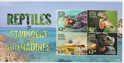Union Island of St Vincent - Reptiles, 2015 - Sheetlet of 4 MNH