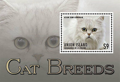 Union Island Grenadines of Saint Vincent| Cat Breeds, 2013 | 1307 S/S MNH