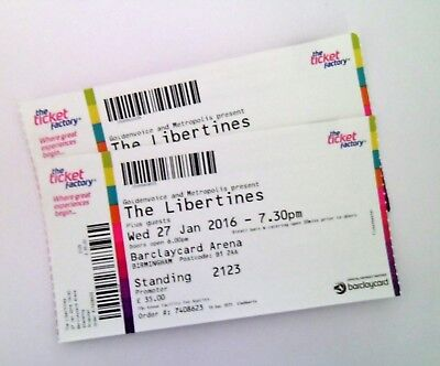 THE LIBERTINES MEMORABILIA - Ticket Stub(s) Birmingham Arena 27/01/16