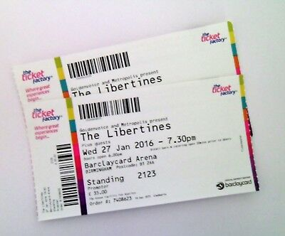 THE LIBERTINES TICKETS - Ticket Stub(s) Memorabilia Birmingham Arena 27/01/16