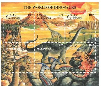 Maldives - The World of Dinosaurs, 1997 - Sc 2278 Sheetlet of 6 MNH