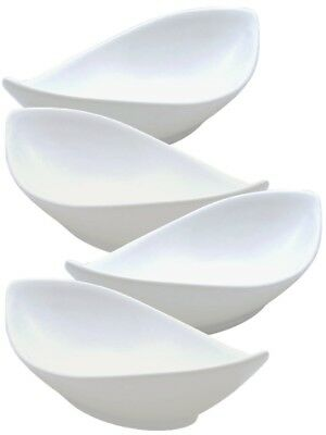"New Set Of 4 Pure White Porcelain Dessert Ice Cream Bowls 20cm 8"" Twist Design."