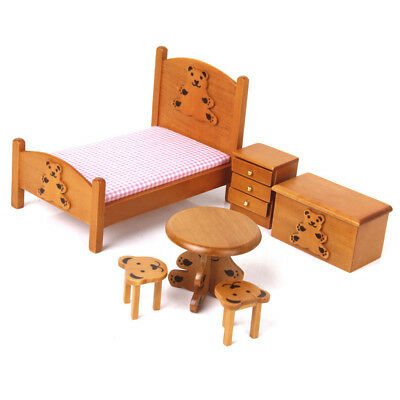 Wooden DollHouse Bedroom Set Miniature Furniture For Kid Daily Play Toy Gift