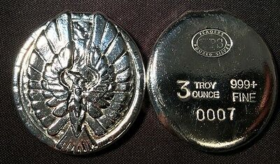 "3oz YPS ""Phoenix"" 999+ fine silver bullion bar ""Yeager's Poured Silver"""