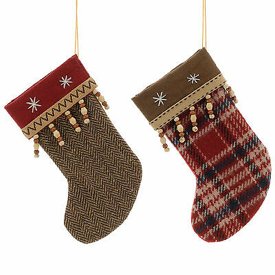 2 Christmas Party 18cm Festive Fabic Stockings Hanging Tree Decorations
