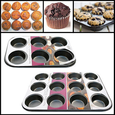 Muffin Pan Baking Tray 6,12 Black Cup Cake Bakeware Metal Cups Mould Pastry Bake