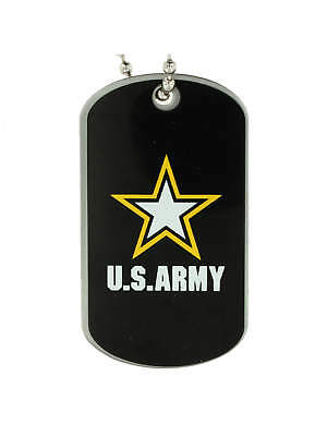 5 Pack- PinMart's U.S. ARMY Military Dog Tag ID Necklace w/ Chain