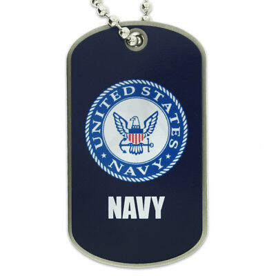 PinMart's U.S. Navy Military Dog Tag ID Necklace w/ Chain