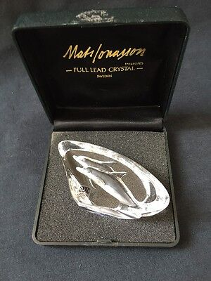 Mats Jonasson Miniature Crystal Glass Paperweight Depicting Dolphins Boxed