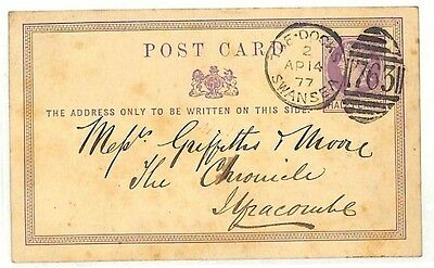 AC76 GB 1877 WALES MARITIME *The Docks Swansea* Glam SCARCE Duplex 4VOD Postcard