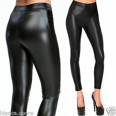 Leggings eco pelle nero SUPER ADERENTI legghins donna leggins MAX QUALITA D0519