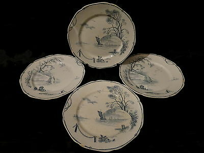 "4 assiettes plate service ""marines"",gien??"