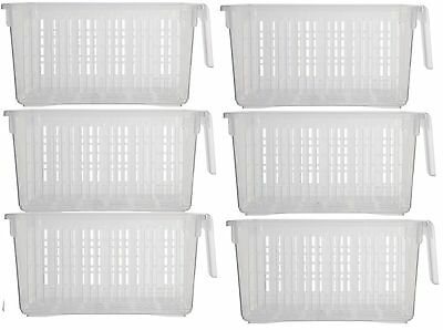 Plastic Transparent Storage Basket With Handles Clear White Set Of 3 6 9 12
