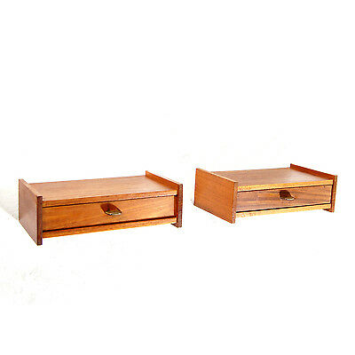 Pair Retro Vintage Danish Teak & Brass Floating Bedside Wall Cabinets Tables 70s