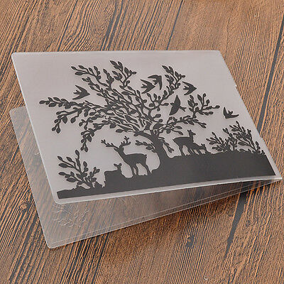DIY Tree Elk Plastic Embossing Folders Scrapbook Supplies Paper Craft Tools