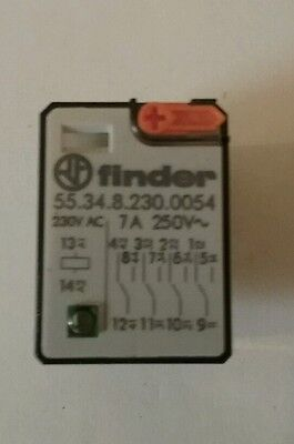 Finder 55.34.8.230.0054 24V Ac 14 Pin Relay, Power, 4Pdt, 24Vac, 7A, Socket