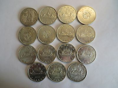 Lot of 15 Canadian Silver Dollar, 80% silver, mixed dates