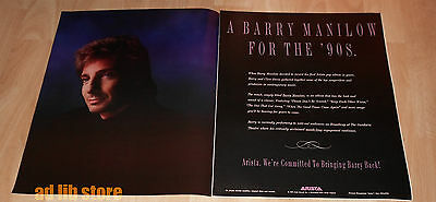 "BARRY MANILOW - ARISTA RECORDS, 2-PIECE (19.5"" x 12"")  ADVERT/AD 1989"