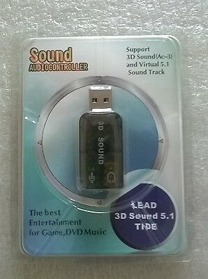 USB Audio Sound Card. Support 3D and Virtual 5.1 Sound Track