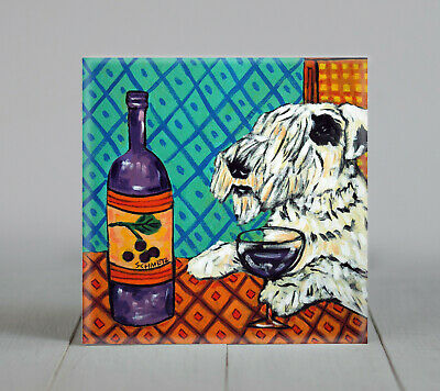 SEALYHAM Terrier at the wine bar dog art tile coaster