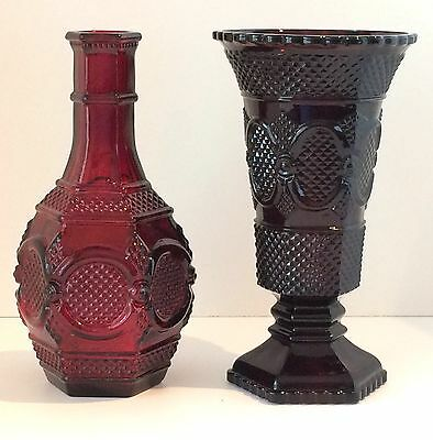 Ruby Red Vase and Bottle, Avon 1876 Cape Cod Pattern