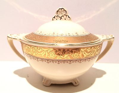 """Antique Sugar Bowl and Lid, Gold Trimmed, 1910's or 1920""""s"""