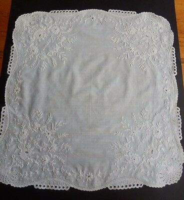 Antique Linen Hand Embroidered Handkerchief Monogrammed Museum Quality