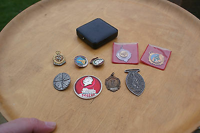 Mixed Lot of 10 Badges & Medals, Bronze, Enamel & Others Chinese, Sport, Clubs