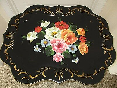 Beautiful Large Hand Painted Floral Antique Chippendale Black Tole Tray
